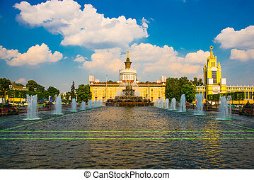 Unusual pavilion and fountains. ENEA,VDNH,VVC. Moscow,...