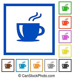 Cappuccino framed flat icons - Set of color square framed...
