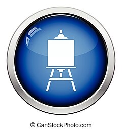 Easel icon. Glossy button design. Vector illustration.