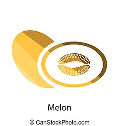 Melon icon Flat color design Vector illustration