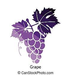 Grape icon. Flat color design. Vector illustration.
