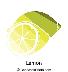 Lemon icon Flat color design Vector illustration