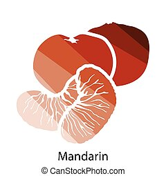 Mandarin icon Flat color design Vector illustration