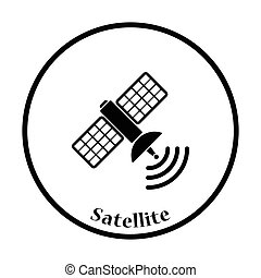 Satellite icon Thin circle design Vector illustration