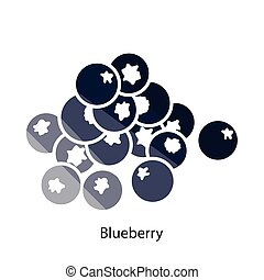 Blueberry icon. Flat color design. Vector illustration.