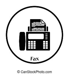 Fax icon. Thin circle design. Vector illustration.