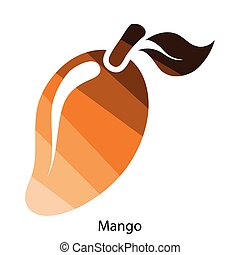 Mango icon Flat color design Vector illustration