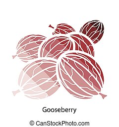 Gooseberry icon Flat color design Vector illustration