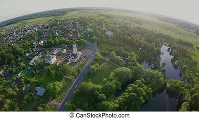 Aerial landscape of rural scene in central Russia on summer...