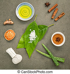 Nature spa ingredients - Avocados leaves with nature spa...