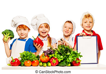 Little cooks with vegetables and ingredients list - Four...
