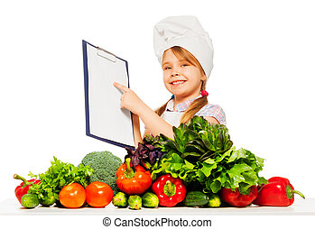Smiling girl in cooks uniform with shopping list - Happy...
