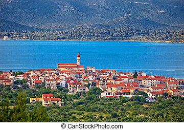 Historic town of Betina skyline view, island of Murter,...