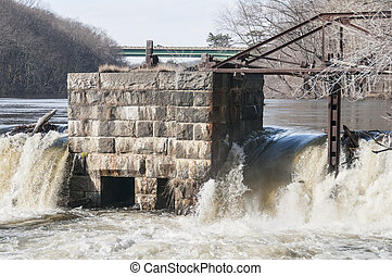 Crumbling infrastructure Blackstone River - Old,...