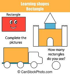 Complete the picture. Educational children game, kids activity. Learning shapes