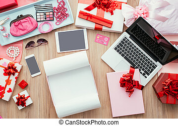 Unboxing gifts - Open empty gift box on a desktop with a...