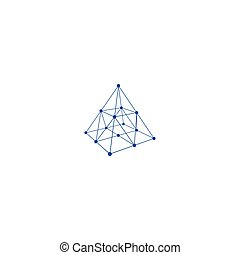 Wire frame shape Pyramid with connected lines and dots...