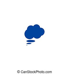 Flat paper cut style icon of thought cloud. Vector...