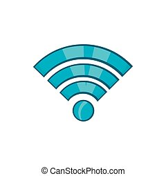 Wi-fi icon, cartoon style - Wi-fi icon in cartoon style...