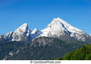 Snow-capped mountain peaks Watzmann Mount in national park...