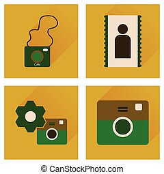 Concept of flat icons with long shadow Cameras