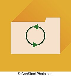 Flat icon with long shadow folder arrow