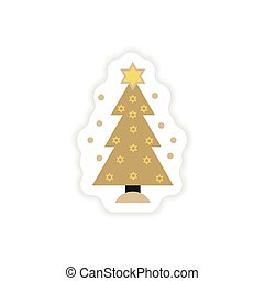 paper sticker on white background Hanukkah tree