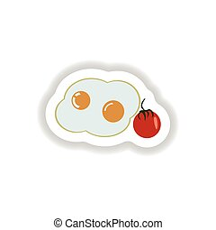stylish paper sticker fried eggs with tomatoes