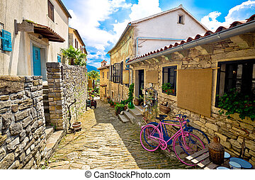 Town of Hum stone steet view, Istria, Croatia