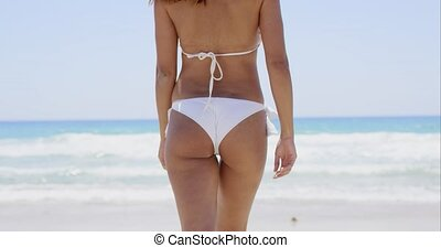 Rear view of a sexy young woman in a bikini - Rear view of a...