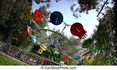 Carousel rotation in park amusement - CarCarousel rotation...