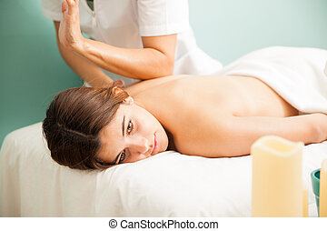 Deep tissue massage at a health clinic - Portrait of a...