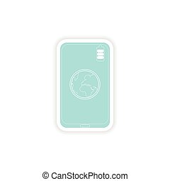 paper sticker on white background mobile phone earth