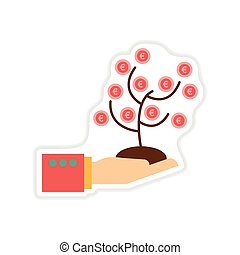 paper sticker on white background Money Tree Hand