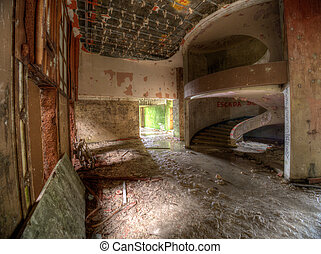 Ruined hotel - Interior of the ruined abandoned hotel on Sao...