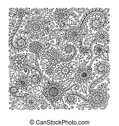 Ethnic floral doodle background pattern in vector.