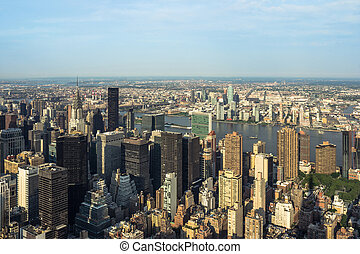 New York City Manhattan street aerial view with skyscrapers