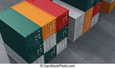 Black truck in container port 3D rendering animation