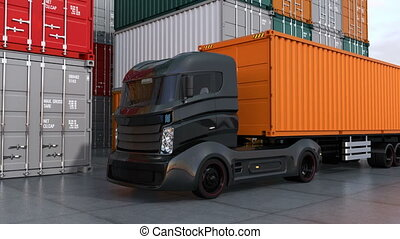 Black truck in container port. 3D rendering animation.