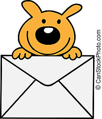 Mai - The dog is smiling, holding a letter