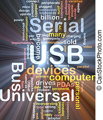 USB word cloud glowing