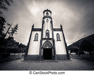Church of Sete Cidades - Black and white picture of a small...