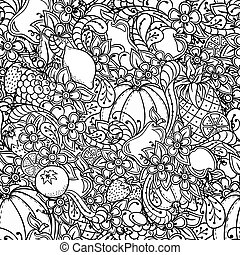 Fruits, vegetables, berries doodle. Healthy food background....