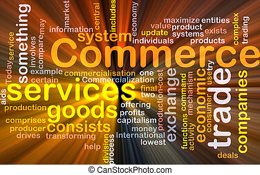 Commerce word cloud glowing