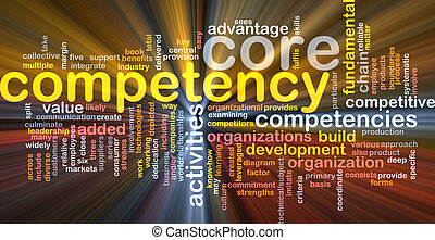 Core competency word cloud glowing - Word cloud concept...