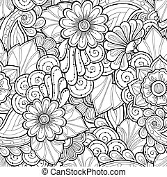 Doodle seamless background in vector with doodles, flowers...