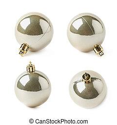 Single Christmas ball isolated - Single golden Christmas...
