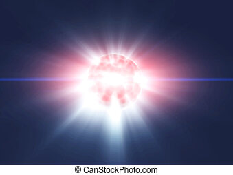 Planet earth explode in space. Template design