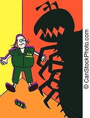 pest control worker fighting monster giant bugs