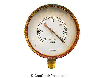 Pressure Gauge - Old Pressure Gauge on green wooden table in...